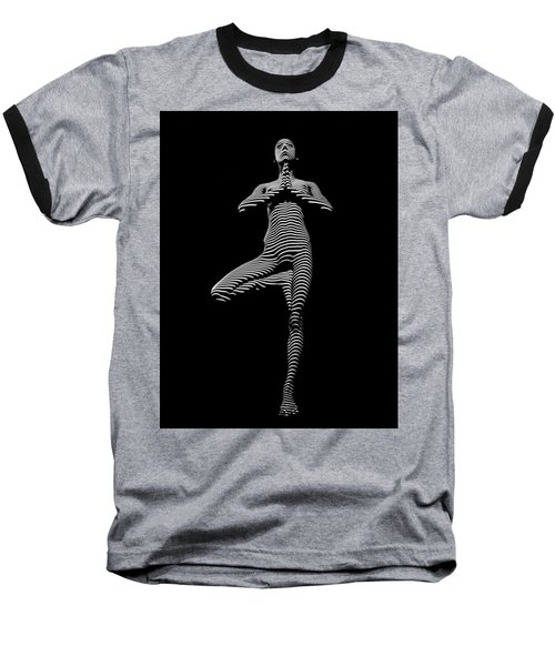 0027-dja Yoga Balance Black White Zebra Stripe Photograph By Chris Maher Baseball T-Shirt
