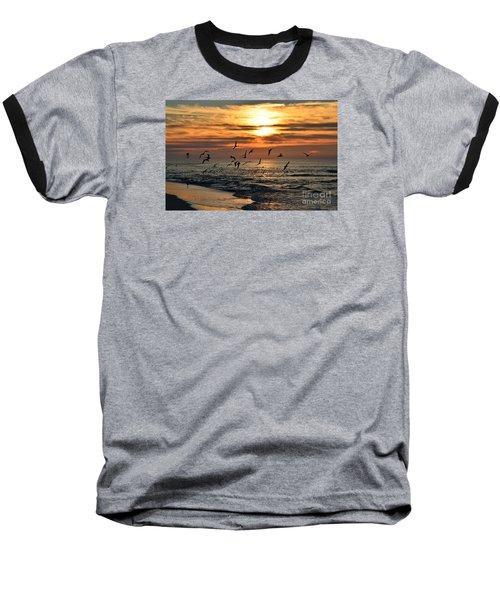 0221 Gang Of Gulls At Sunrise On Navarre Beach Baseball T-Shirt