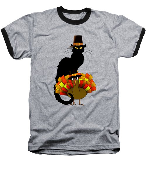 Thanksgiving Le Chat Noir With Turkey Pilgrim Baseball T-Shirt by Gravityx9  Designs