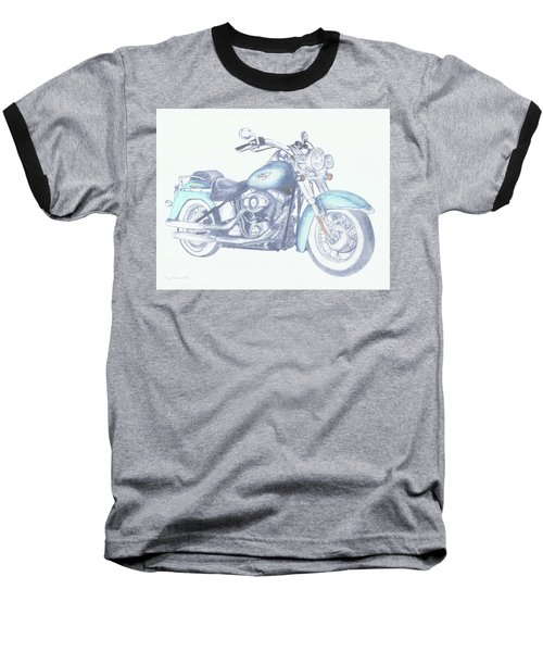 Baseball T-Shirt featuring the drawing 2015 Softail by Terry Frederick