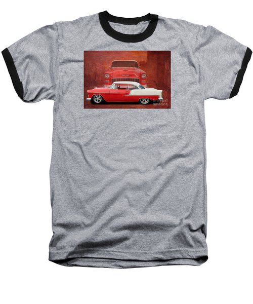 55 Chev Beauty Baseball T-Shirt by Jim  Hatch