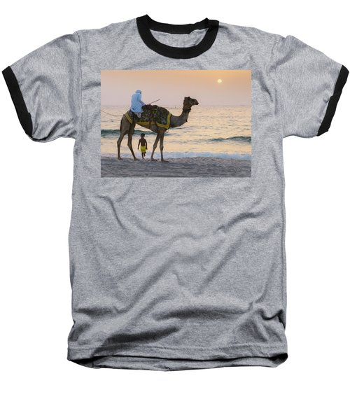 Little Boy Stares In Amazement At A Camel Riding On Marina Beach In Dubai, United Arab Emirates -  Baseball T-Shirt