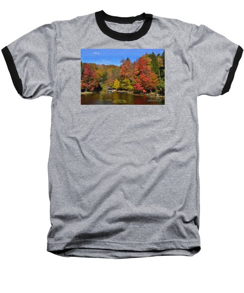Baseball T-Shirt featuring the painting A Little Piece Of Adirondack Heaven by Diane E Berry