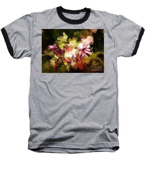 Abstract Flowers Baseball T-Shirt