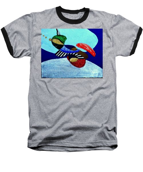 Baseball T-Shirt featuring the painting Abstract Silver by Rod Ismay