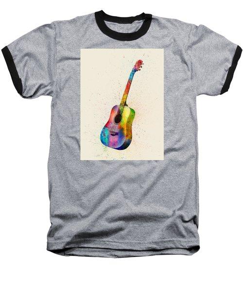 Acoustic Guitar Abstract Watercolor Baseball T-Shirt