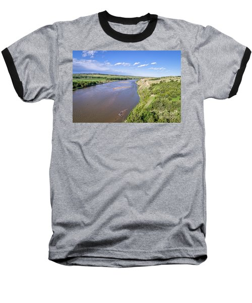 aerial view of Niobrara River in Nebraska Sand Hills Baseball T-Shirt