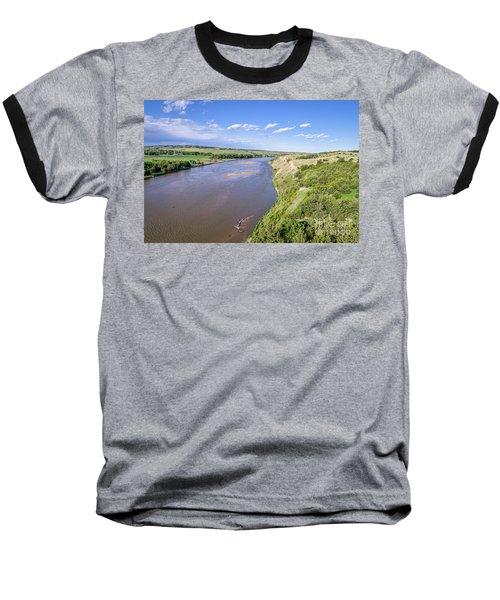 aerial view of Niobrara River in Nebraska Sand Hills Baseball T-Shirt
