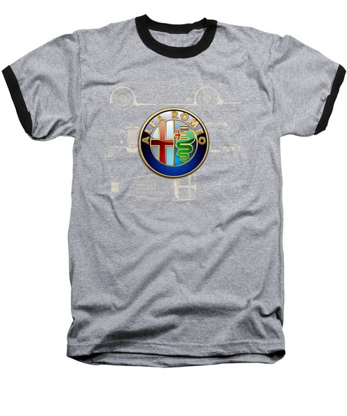 Alfa Romeo 3 D Badge Over 1938 Alfa Romeo 8 C 2900 B Vintage Blueprint Baseball T-Shirt