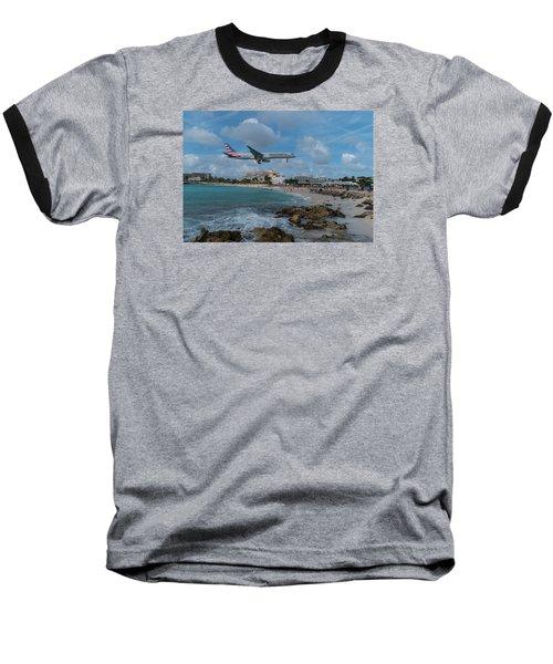 American Airlines Landing At St. Maarten Baseball T-Shirt