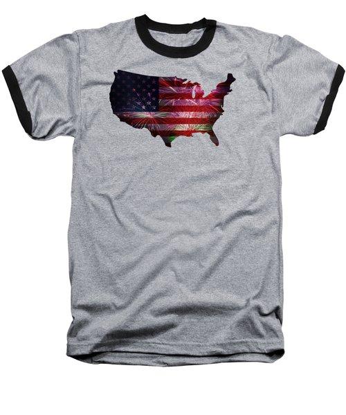 American Flag With Fireworks Display Baseball T-Shirt