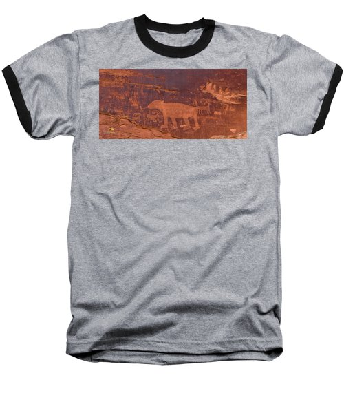 Baseball T-Shirt featuring the photograph Ancient Native American Petroglyphs On A Canyon Wall Near Moab. by Jim Thompson
