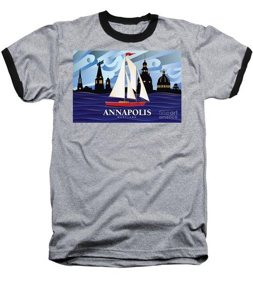 Annapolis Skyline Red Sail Boat Baseball T-Shirt