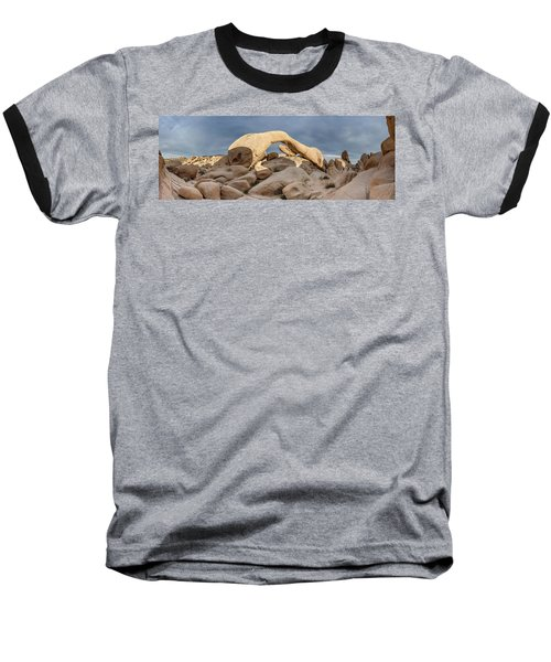 Arch Rock Panorama In Joshua Tree Baseball T-Shirt