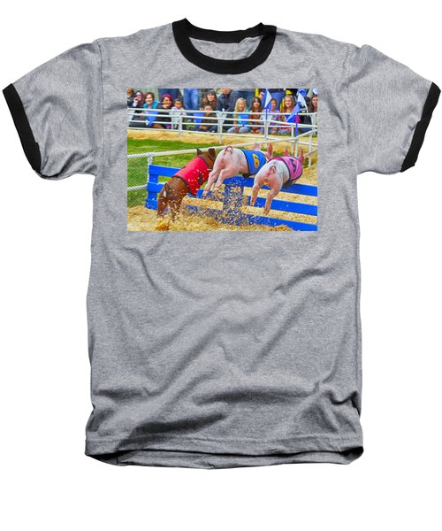 Baseball T-Shirt featuring the photograph At The Pig Races by AJ Schibig