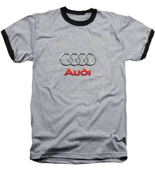 Audi 3 D Badge Over 2016 Audi R 8 Blueprint Baseball T-Shirt