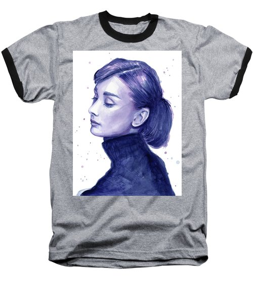 Audrey Hepburn Portrait Baseball T-Shirt