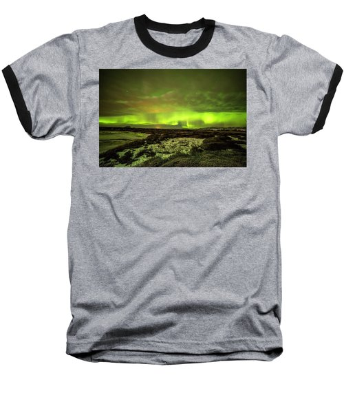 Aurora Borealis Over A Frozen Lake Baseball T-Shirt by Joe Belanger