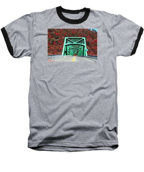 Baseball T-Shirt featuring the photograph Autumn Bridge by Michael Rucker