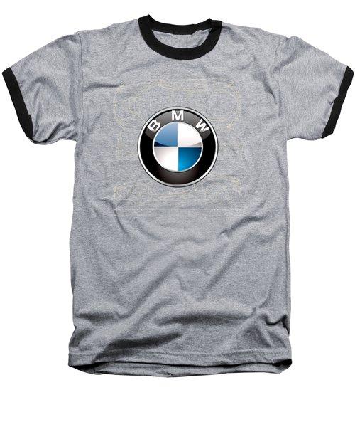 B M W 3 D Badge Over B M W I8 Blueprint  Baseball T-Shirt