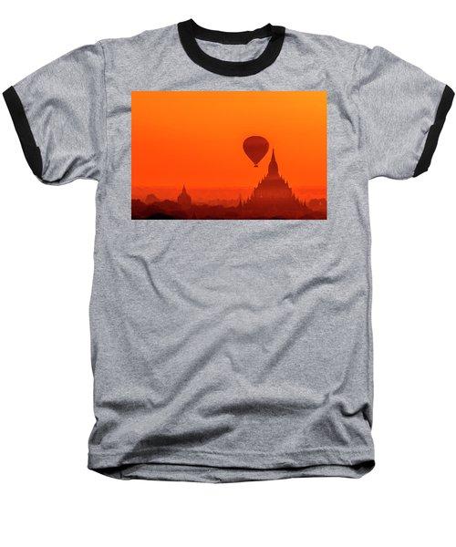 Bagan Pagodas And Hot Air Balloon Baseball T-Shirt