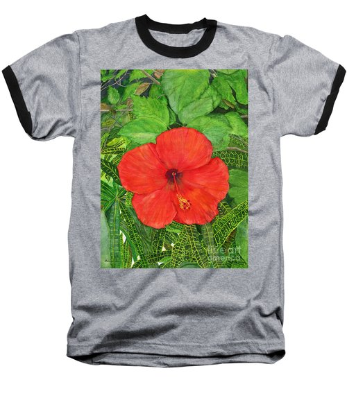 Baseball T-Shirt featuring the painting Balinese Hibiscus Rosa by Melly Terpening