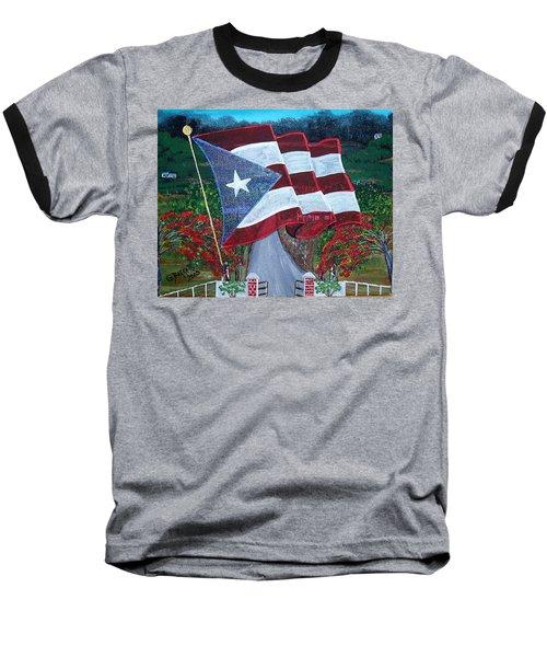 Bandera De Puerto Rico Baseball T-Shirt