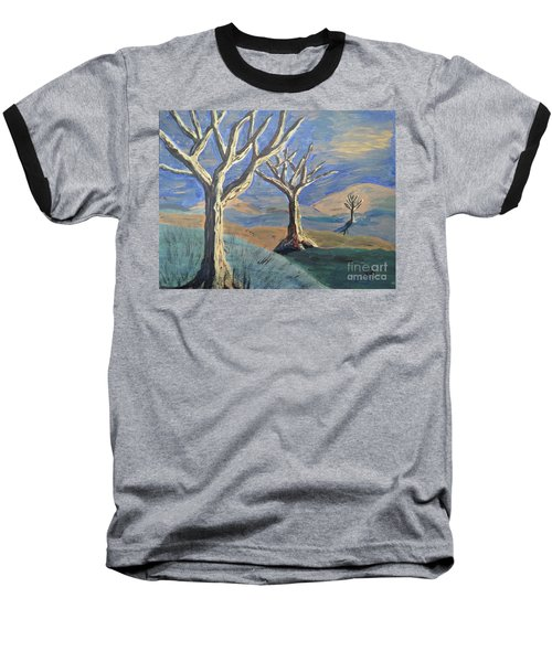 Baseball T-Shirt featuring the painting Bare Trees by Judy Via-Wolff