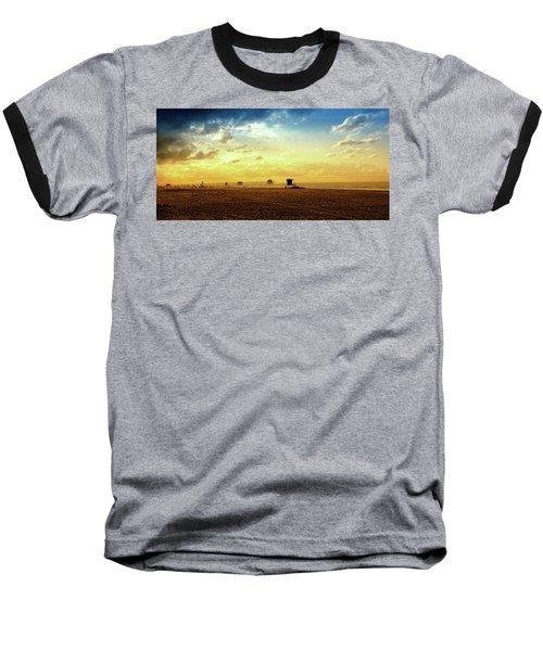 Beach Pier Baseball T-Shirt by Joseph Hollingsworth