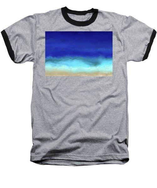 Beach Scene 8. Aqua Beach Blues Baseball T-Shirt by Mark Lawrence