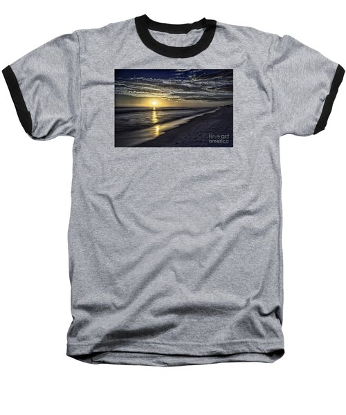 Beach Sunset 1021b Baseball T-Shirt by Walt Foegelle