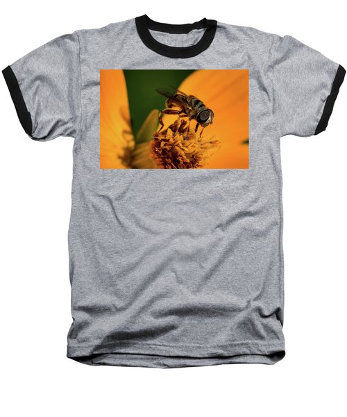 Baseball T-Shirt featuring the photograph Bee On Flower by Jay Stockhaus