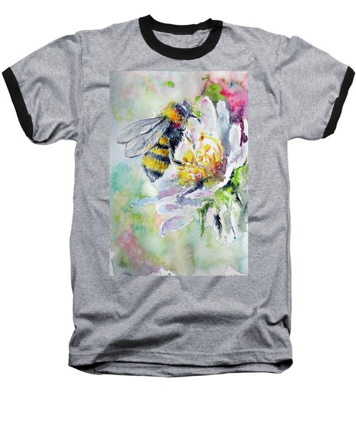 Bee On Flower Baseball T-Shirt by Kovacs Anna Brigitta