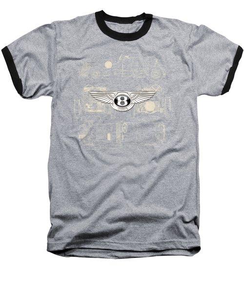 Bentley - 3 D Badge Over 1930 Bentley 4.5 Liter Blower Vintage Blueprint Baseball T-Shirt