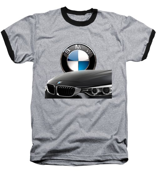 Black B M W - Front Grill Ornament And 3 D Badge On Red Baseball T-Shirt