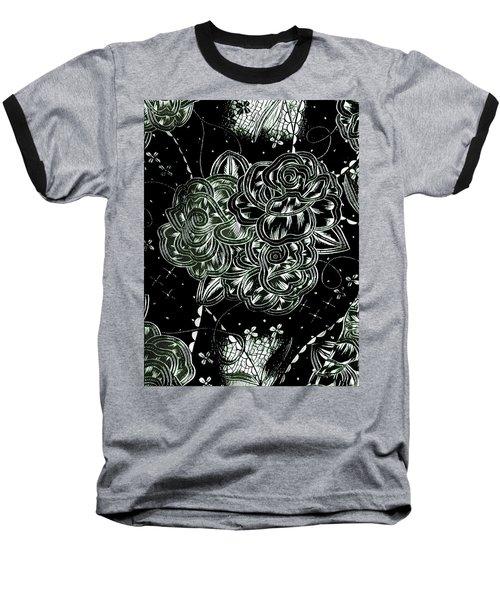 Black Flower Baseball T-Shirt