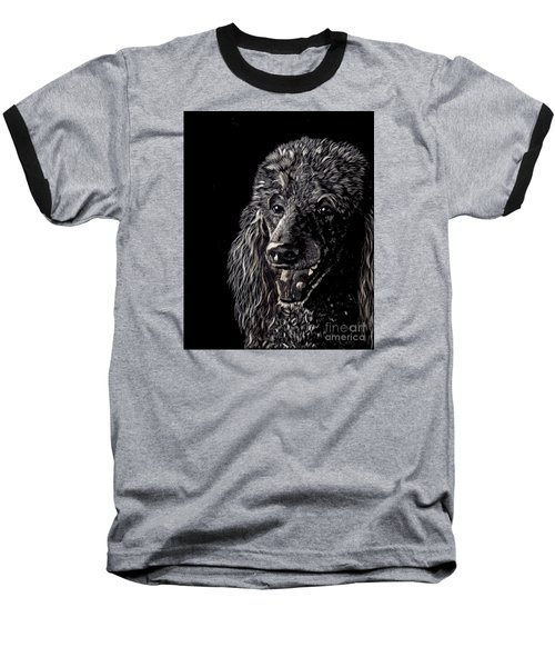 Baseball T-Shirt featuring the drawing Black Standard Poodle by Terri Mills