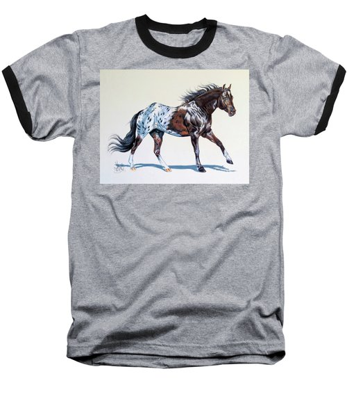 Blanketed Appaloosa Baseball T-Shirt by Cheryl Poland