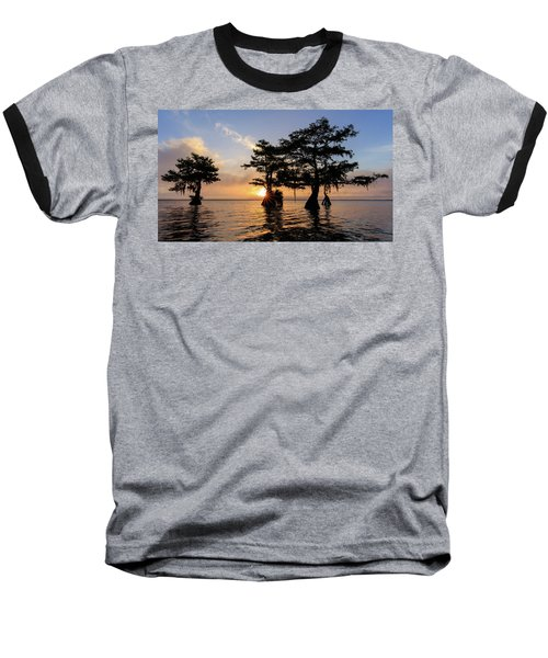 Blue Cypress Lake Morning Baseball T-Shirt