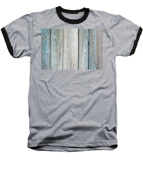 Baseball T-Shirt featuring the photograph Blue Fading Paint On Wood by John Williams