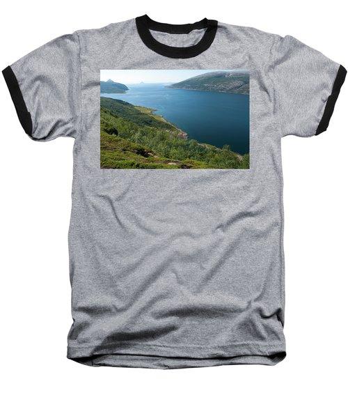 Blue Fjord Baseball T-Shirt by Tamara Sushko