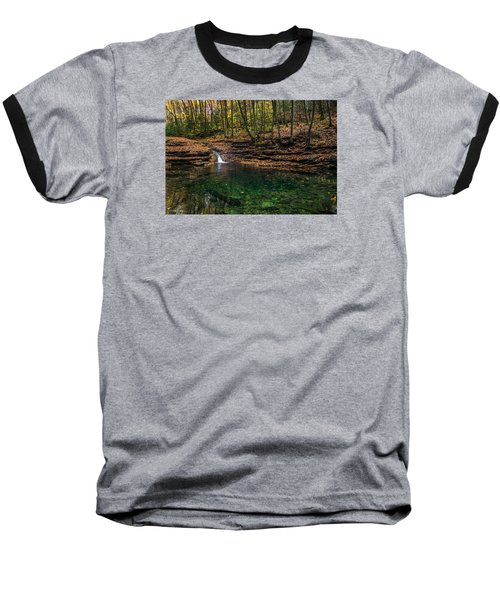 Blue Ridge Cascade Baseball T-Shirt by Serge Skiba