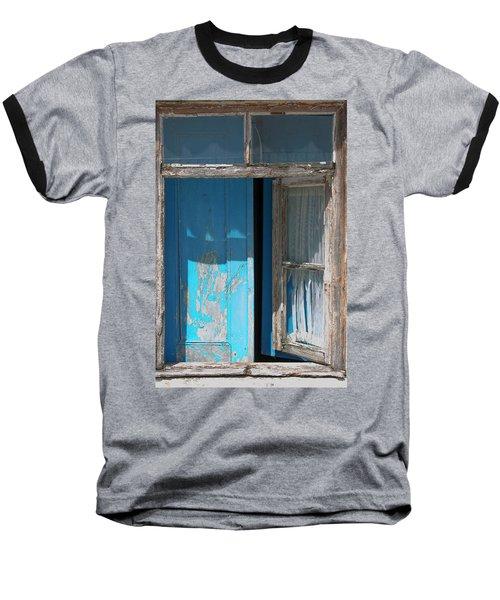 Blue Window Baseball T-Shirt by Edgar Laureano