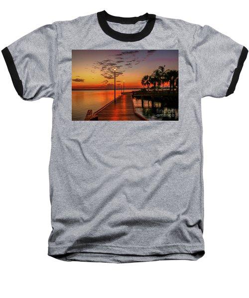 Boardwalk Sunrise Baseball T-Shirt by Tom Claud