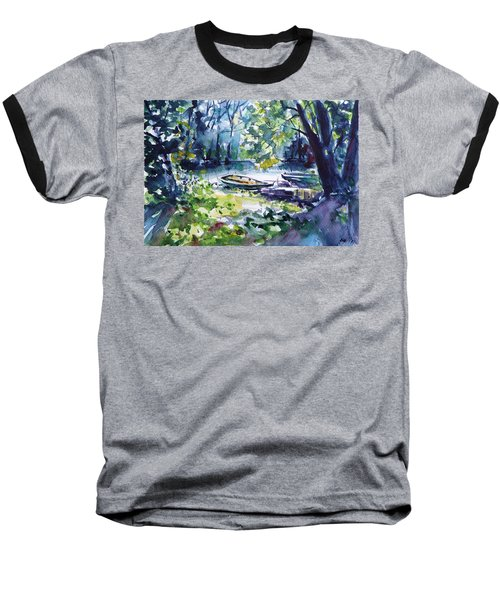 Baseball T-Shirt featuring the painting Boat by Kovacs Anna Brigitta