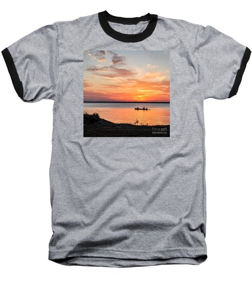 Boating Sunset Baseball T-Shirt by Cheryl McClure