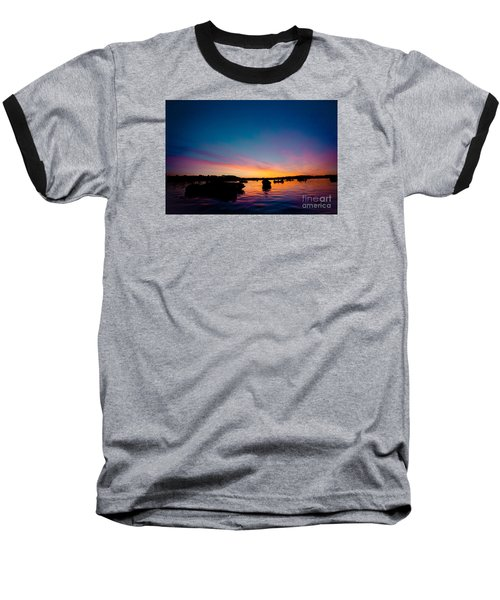 Boats And Sunrise Above Lake Water Summer Time Latvia Ezera Skanas Baseball T-Shirt