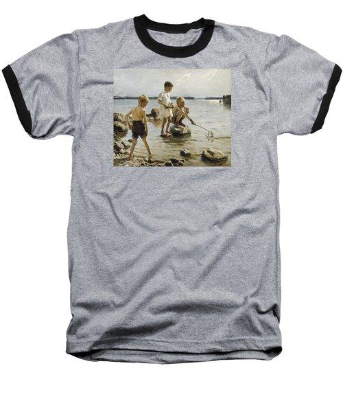Boys Playing On The Shore Baseball T-Shirt by Albert Edelfelt