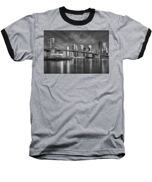 Brooklyn Bridge From Dumbo Baseball T-Shirt by Susan Candelario