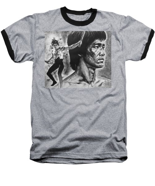 Baseball T-Shirt featuring the painting Bruce Lee by Darryl Matthews